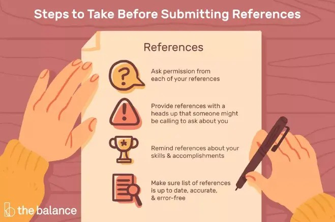 Steps before submitting professional references